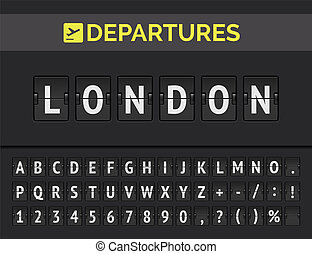 Airport flip board font showing flight departure destination in Europe London. Vector