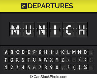 Airport flip board font showing flight departure destination in Europe Munich. Vector