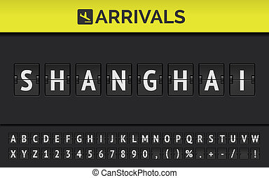 Airport flip board showing flight arrival destination in China Shanghai. Vector