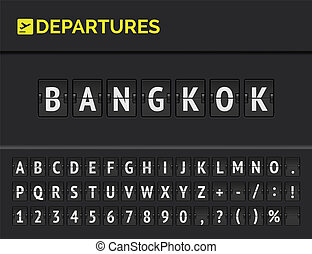 Airport flip board showing flight departure destination in Asia Bangkok. Vector