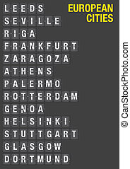 Airport Flip Board with Name of European Cities