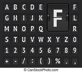 Airport flip scoreboard alphabet font with numbers to display flight destination, arrival or departure info. Vector illustration.