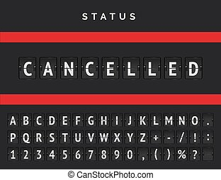 Airport flip scoreboard announcing warning due to cancelled ...
