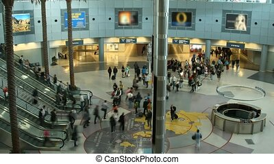Airport  - Time lapse Las Vegas busy Airport inside