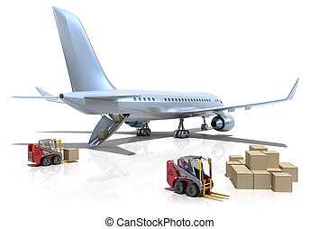 Airport : forklifts is loading the airplane
