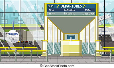 Airport gate. Departure board with Barcelona text. Travel to Spain related cartoon illustration
