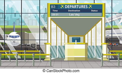 Airport gate. Departure board with Las Vegas text. Travel to...