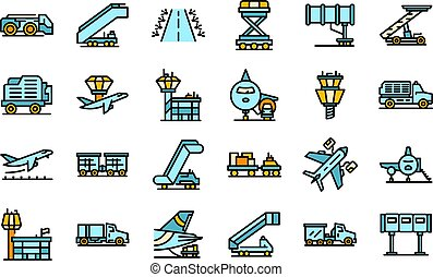 Airport ground support service icons set vector flat