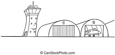 Airport Hangar - Black and White Cartoon illustration, Vector