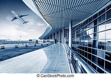 Airport - he scene of T3 airport building in beijing china.