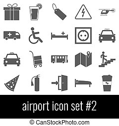 Airport. Icon set 2. Gray icons on white background.