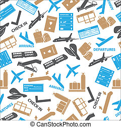 airport icons color seamless pattern eps10