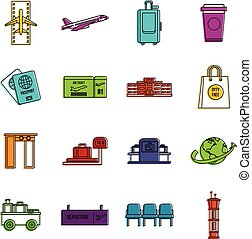 Airport icons doodle set