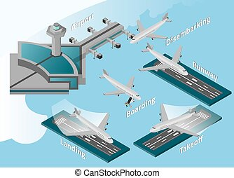 Airport Icons Set - Airport decorative icons isometric...