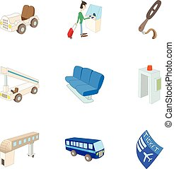 Airport icons set, cartoon style