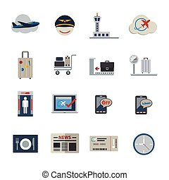Airport icons set. Flat Icons set