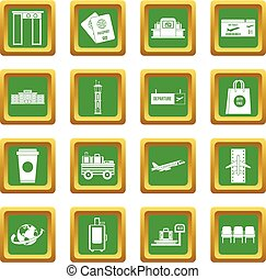 Airport icons set green