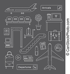 Airport icons - Vector set of cute airport icons and signs