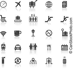 Airport icons with reflect on white background