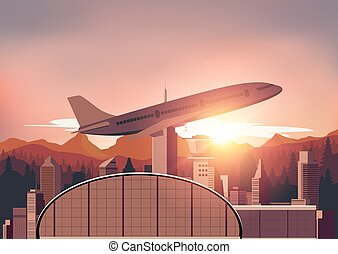 Airport illustrator with sunset background
