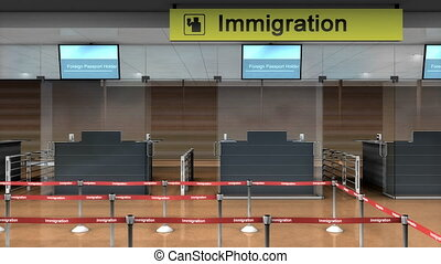 """""""Airport Immigration counter, 3d animation."""""""