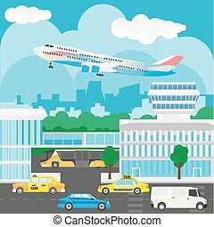 Airport in city design. Busy traffic, buses and taxis, buildings