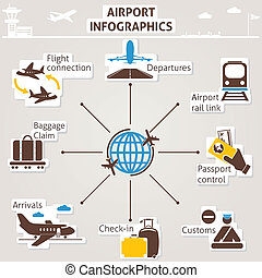Airport infographics. Vector set for you design