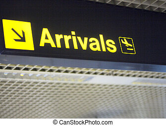 Airport information arrivals sign