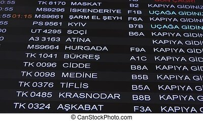 Airport information time table of departures with ...