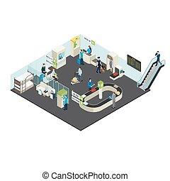 Airport Interior Isometric Concept
