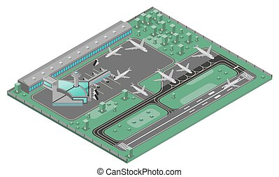 Airport isometric concept with airplanes runway and infrastructure icons set vector illustration