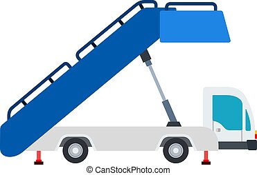 Airport Ladder on wheels vector flat material design ...