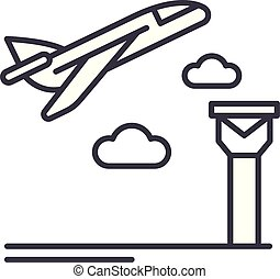 Airport line icon concept. Airport vector linear illustration, symbol, sign