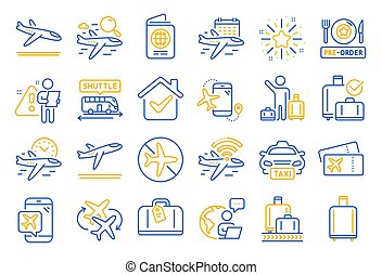 Airport line icons. Boarding pass, Baggage claim, Arrival ...