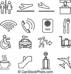 Airport line icons set