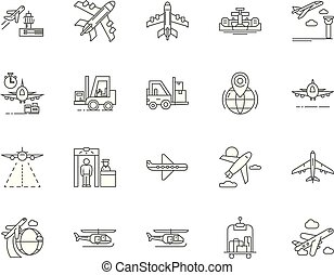Airport line icons, signs, vector set, outline illustration concept
