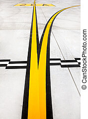 Airport lines - A picture of black and yellow airport...