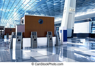 Airport lobby blue roof