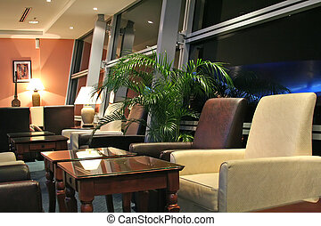 Airport business class executive lounge at night
