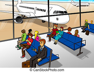 Airport Lounge - Cartoon illustration of people waiting at...