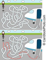 Airport maze for kids with a solution