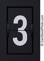 Airport mechanical flip board panel digits font 3 three