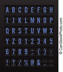 Airport Mechanical Flip Board Panel Font - Blue Font on Dark Background