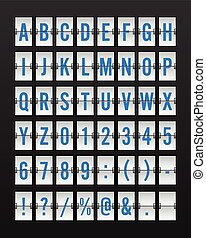 Airport Mechanical Flip Board Panel Font - Blue Font on White Background