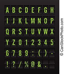 Airport Mechanical Flip Board Panel Font - Green Font on Dark Background