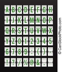 Airport Mechanical Flip Board Panel Font - Green Font on White Background