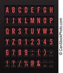 Airport Mechanical Flip Board Panel Font - Red Font on Dark Background