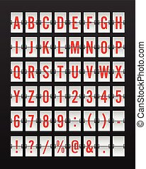 Airport Mechanical Flip Board Panel Font - Red Font on White Background