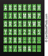 Airport Mechanical Flip Board Panel Font - White Font on Green Background