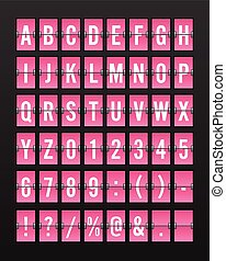 Airport Mechanical Flip Board Panel Font - White Font on Pink Background